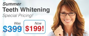 Teeth whitening special price, Was $399, is Now $159