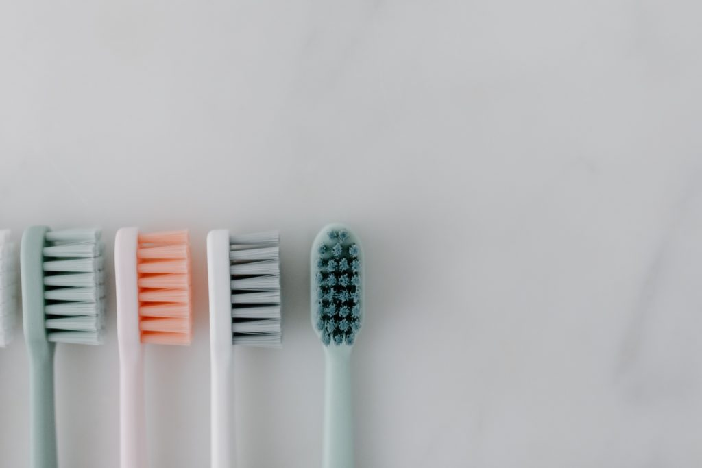 A set of toothbrushes.